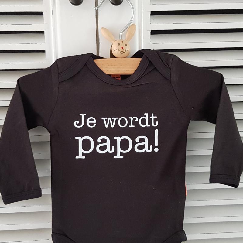 Baby Rompertje Zwart Met Tekst Bedrukken Je Wordt Papa Cadeautje Zwangerschap Aankondiging